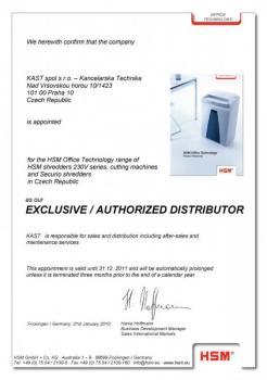 Exklusivní distributor kancelářských skartovacích strojů HSM